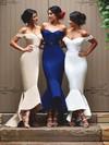 Trumpet/Mermaid Off-the-shoulder Elastic Woven Satin Asymmetrical Sashes / Ribbons Modern Bridesmaid Dress #JCD01012902
