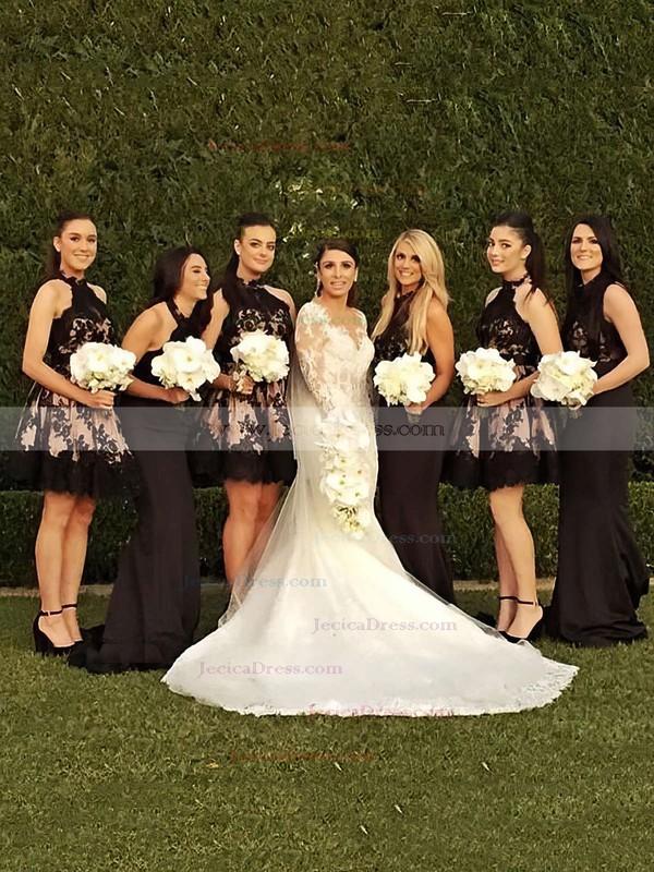 A-line High Neck Tulle Short/Mini Appliques Lace Classy Bridesmaid Dresses #JCD01012914