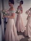 Trumpet/Mermaid Off-the-shoulder Chiffon Watteau Train Beading Modest Bridesmaid Dresses #JCD01012916