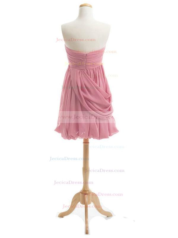 Inexpensive Sheath/Column Sweetheart Chiffon Short/Mini Ruffles Bridesmaid Dresses #JCD01012919