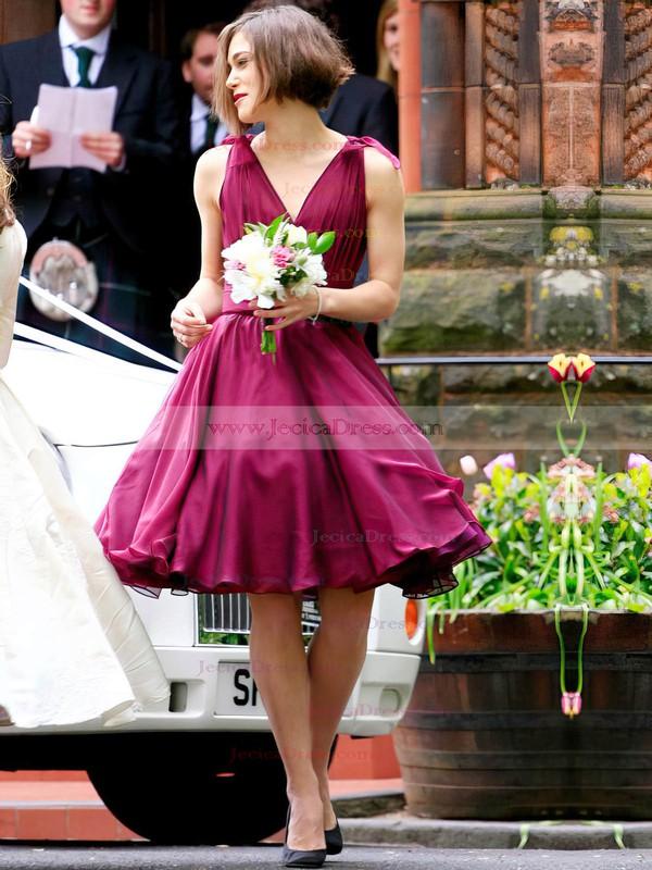 A-line V-neck Chiffon Short/Mini with Ruffles New Arrival Bridesmaid Dresses #JCD01012925