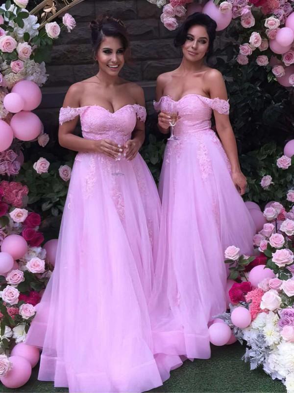 A-line Off-the-shoulder Tulle Floor-length Appliques Lace Unique Bridesmaid Dress #JCD01012926