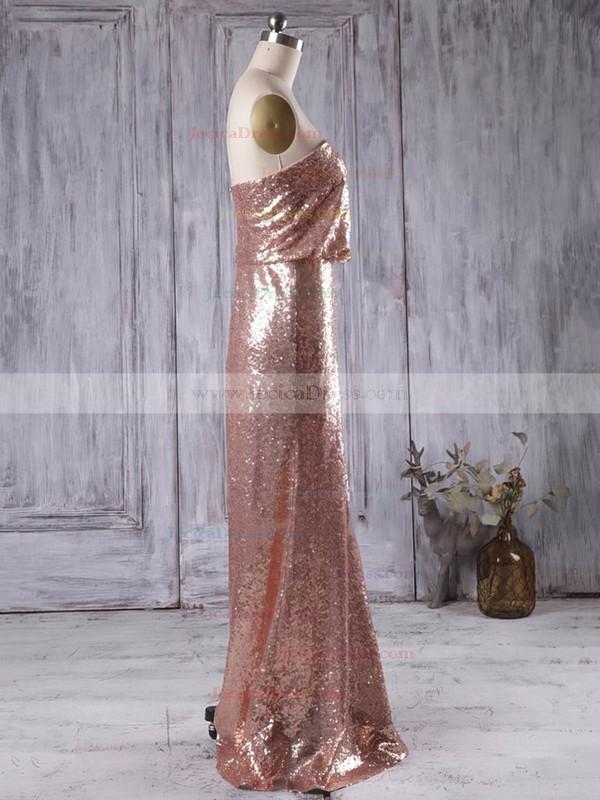 Sheath/Column Strapless Sequined Floor-length Sequins Popular Bridesmaid Dresses #JCD01012935