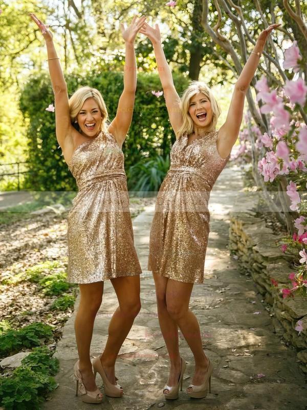 Exclusive Sheath/Column One Shoulder Sequined Short/Mini Ruffles Bridesmaid Dress #JCD01012939