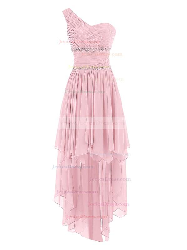 A-line One Shoulder Chiffon Asymmetrical Ruffles Trendy Bridesmaid Dresses #JCD01012944