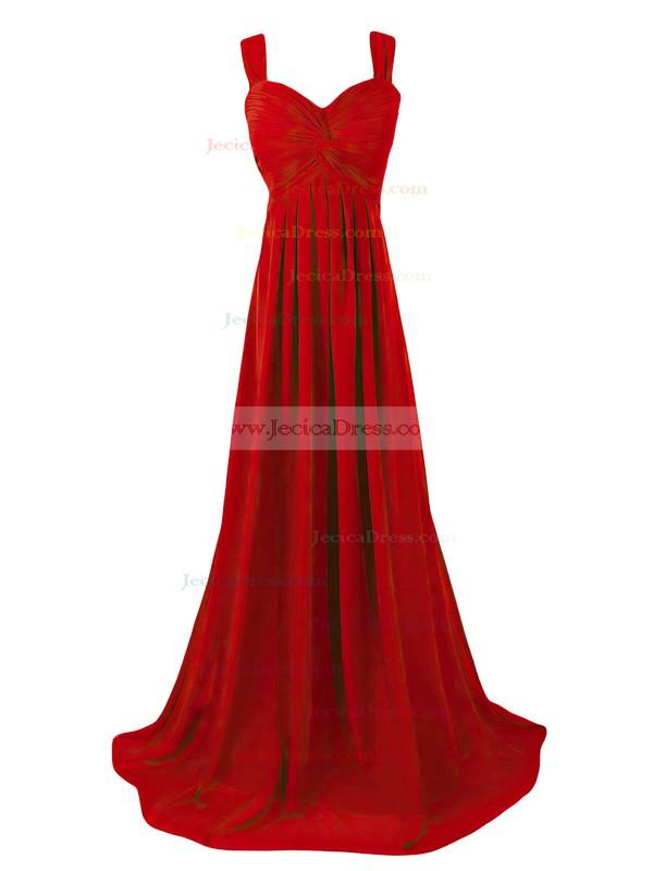 Empire Sweetheart Chiffon Sweep Train Criss Cross Cheap Bridesmaid Dresses #JCD01012945