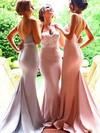 Trumpet/Mermaid Sweetheart Silk-like Satin Sweep Train Appliques Lace Backless Bridesmaid Dress #JCD01012946