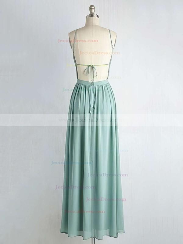 Backless A-line V-neck Chiffon Floor-length Ruffles Custom Bridesmaid Dresses #JCD01012947