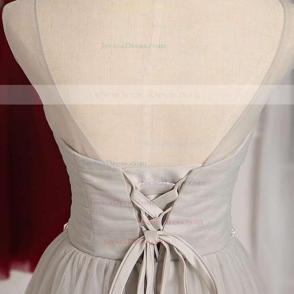 Junior A-line Scoop Neck Tulle Short/Mini Ruffles White Bridesmaid Dresses #JCD01012948
