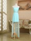 Sheath/Column Strapless Satin Chiffon Asymmetrical Ruffles Nice Bridesmaid Dress #JCD01012949