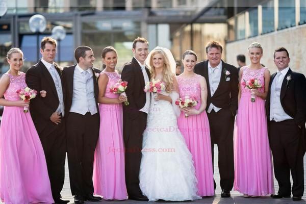 A-line Scoop Neck Chiffon Floor-length Lace Glamorous Bridesmaid Dresses #JCD01012951