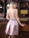 Short/Mini A-line Scoop Neck Satin Tulle Appliques Lace Exclusive Prom Dresses #JCD020102671
