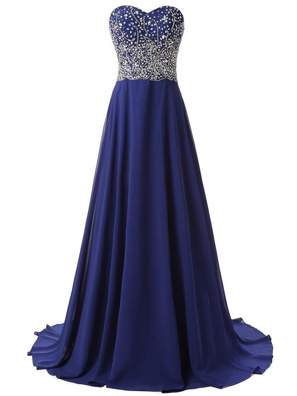 A-line Sweetheart Royal Blue Chiffon Crystal Detailing Sweep Train Original Prom Dresses #JCD020102673