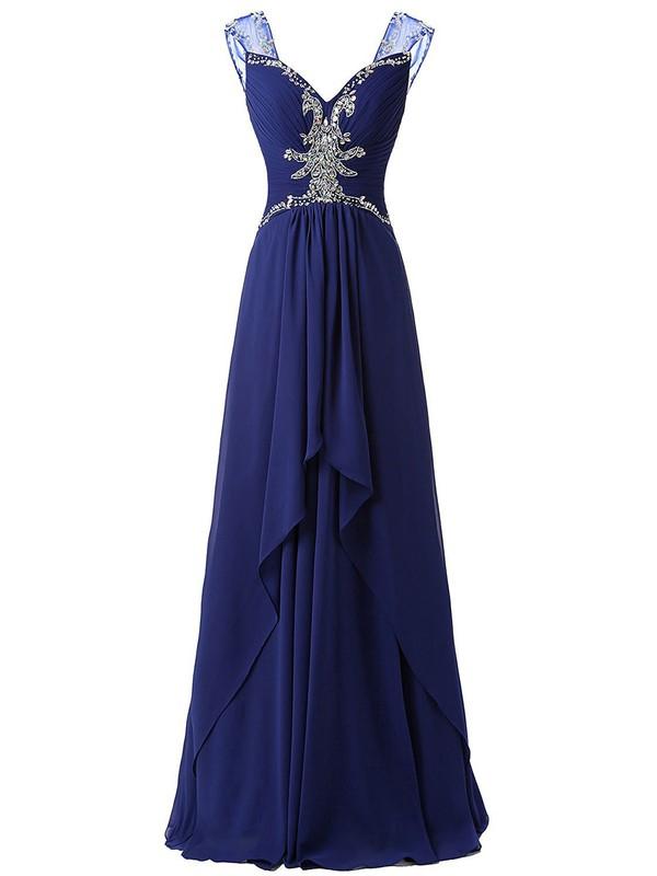 V-neck A-line Royal Blue Chiffon with Beading Floor-length Custom Prom Dress #JCD020102674