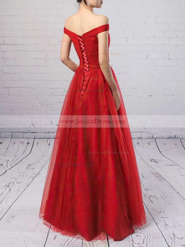Burgundy Princess Ruffles Tulle Floor-length Off-the-shoulder Prom Dresses #JCD020102678
