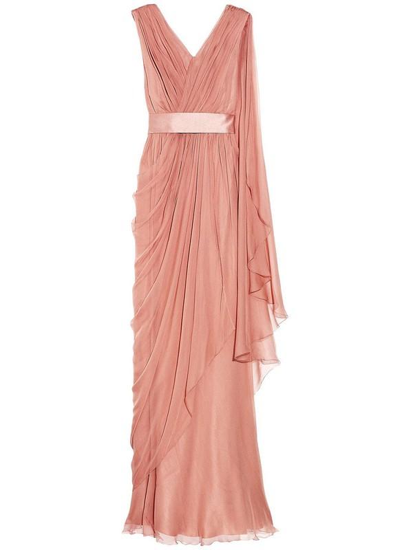 Affordable Sheath/Column Chiffon Sashes / Ribbons Floor-length V-neck Prom Dresses #JCD020102682