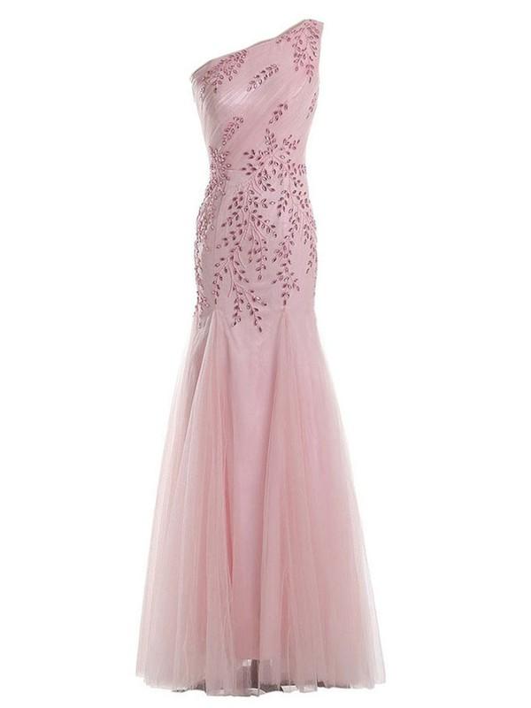 Trumpet/Mermaid Tulle with Beading Floor-length Ladies One Shoulder Prom Dresses #JCD020102694