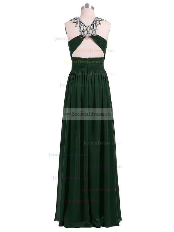 Modest A-line Scoop Neck Chiffon Beading Floor-length Open Back Prom Dresses #JCD020102696