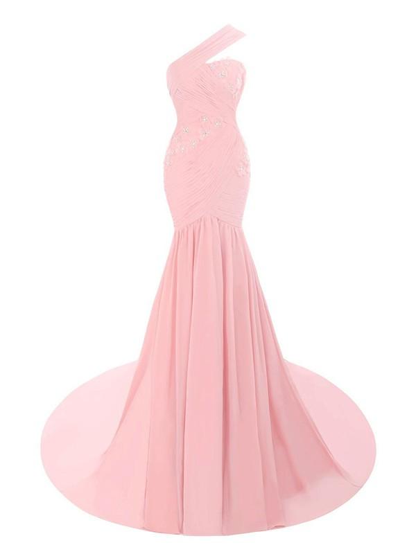 One Shoulder Trumpet/Mermaid Ruffles Chiffon Court Train Noble Pink Prom Dresses #JCD020102698