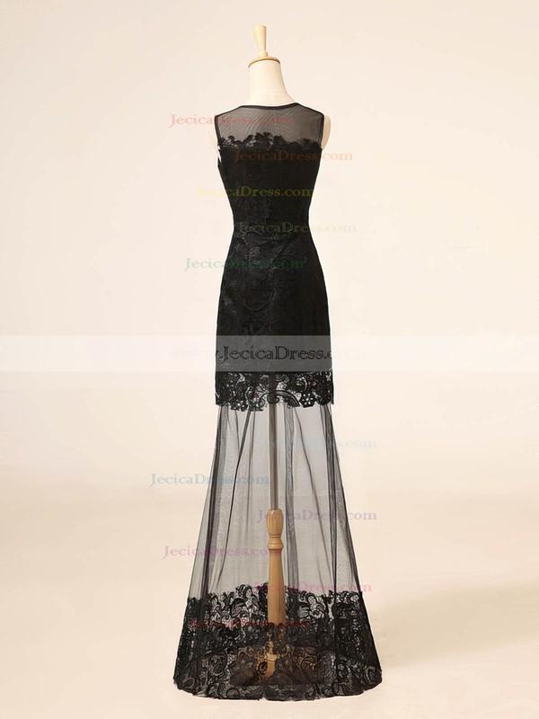 Scoop Neck Black Lace Tulle Beading Floor-length Sheath/Column Prom Dresses #JCD020102705