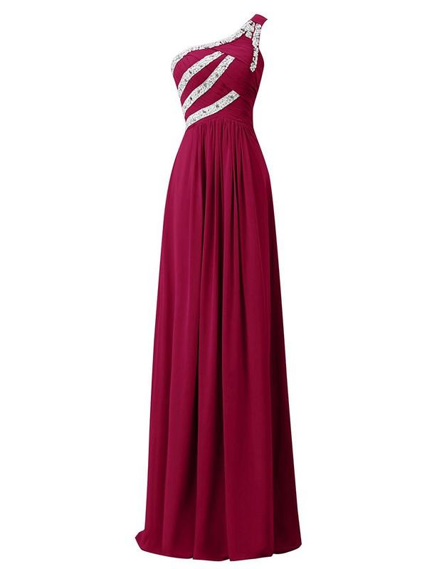 Juniors Burgundy Sheath/Column Ruffles Chiffon Floor-length One Shoulder Prom Dresses #JCD020102711