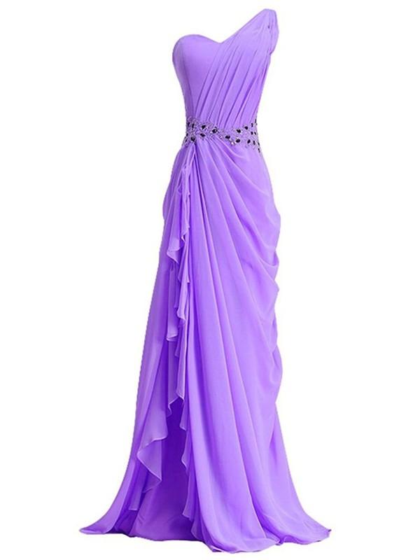 Sheath/Column Chiffon with Beading Sweep Train Custom One Shoulder Prom Dresses #JCD020102718