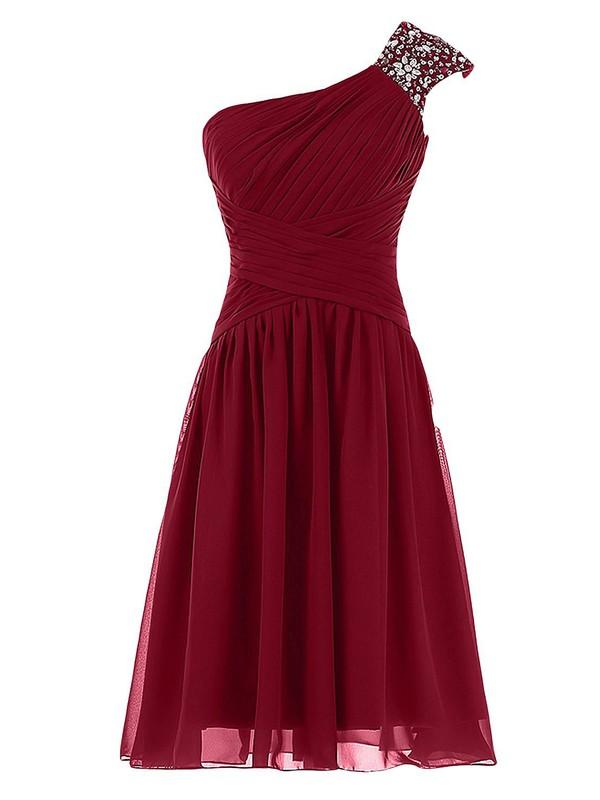 Cheap A-line Burgundy Chiffon Beading One Shoulder Knee-length Prom Dresses #JCD020102719