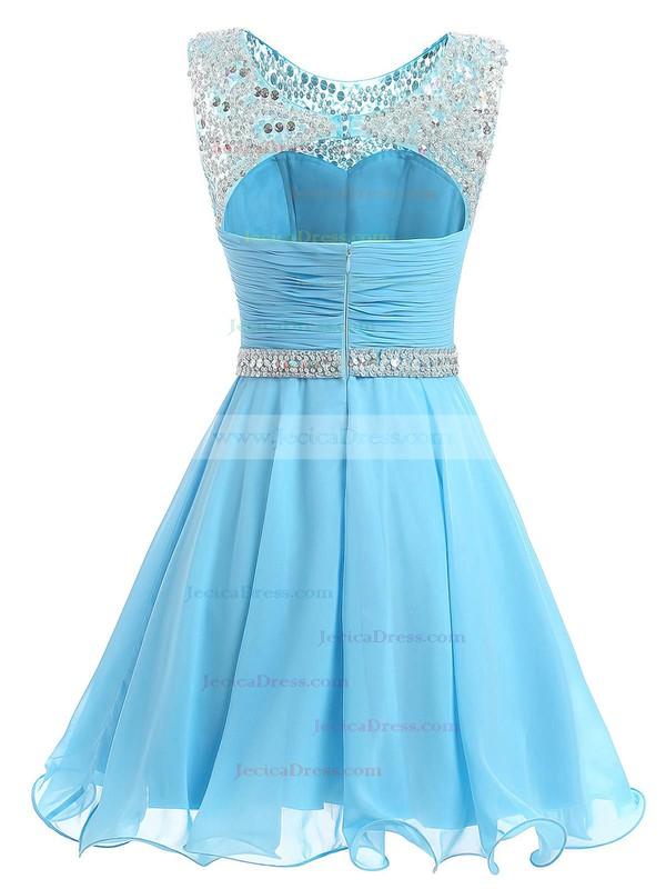 Short/Mini A-line Scoop Neck Chiffon with Beading Pretty Prom Dresses #JCD020102720