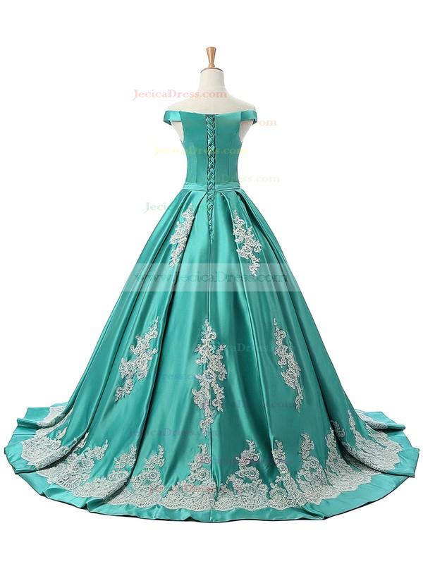 Princess Satin Appliques Lace Sweep Train Classic Black Off-the-shoulder Prom Dress #JCD020102721