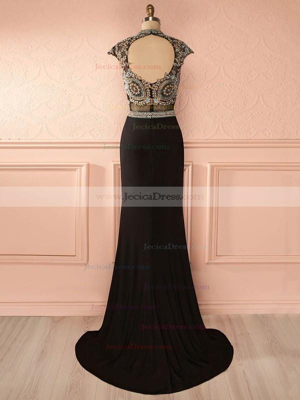 Black Open Back Chiffon Tulle Beading Sweep Train Sheath/Column High Neck Prom Dress #JCD020102730