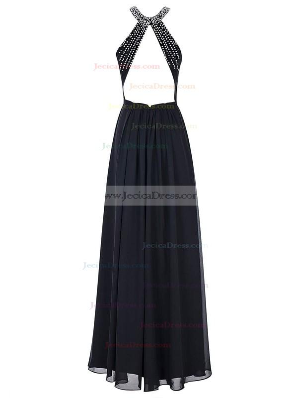 Scoop Neck Sheath/Column Chiffon with Beading Floor-length Open Back Prom Dresses #JCD020102731