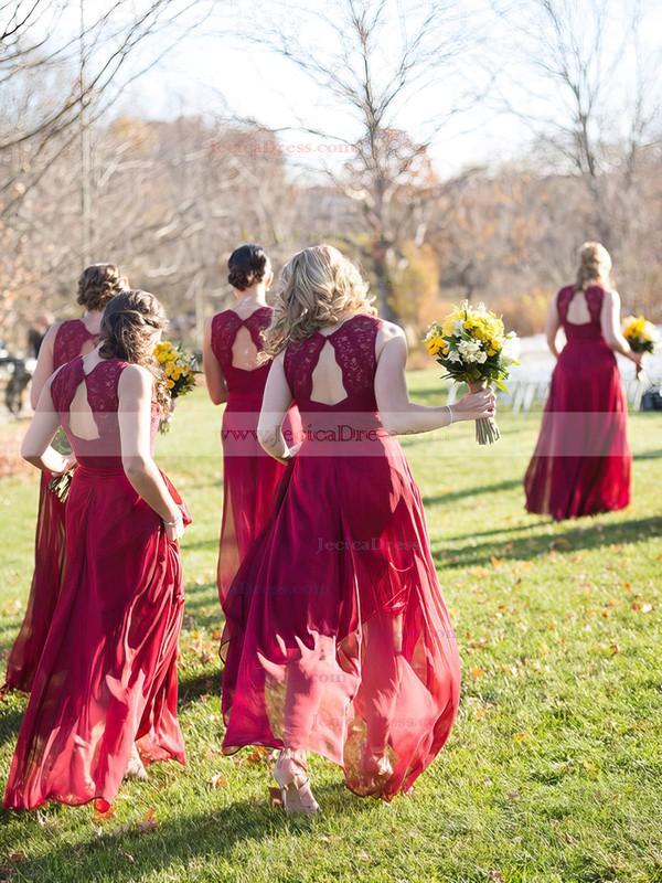 Elegant A-line V-neck Chiffon Floor-length Appliques Lace Open Back Burgundy Bridesmaid Dresses #JCD01012952