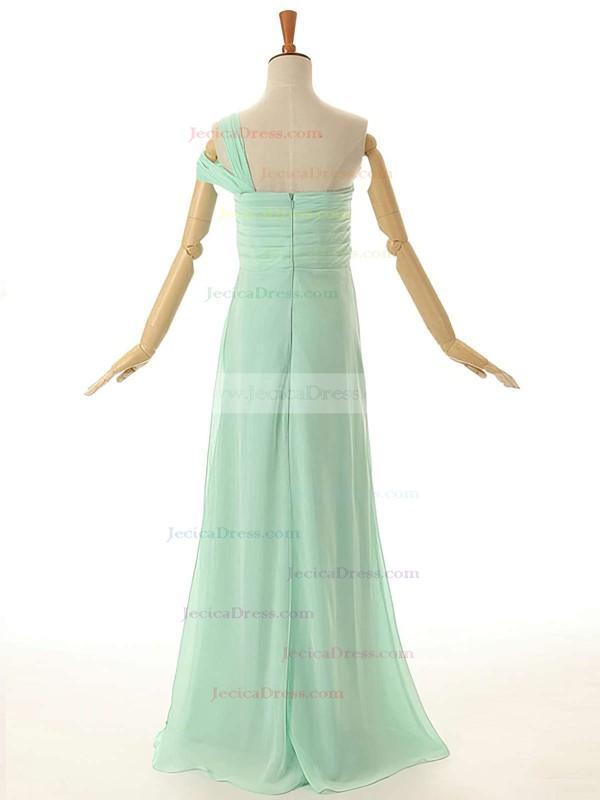 One Shoulder Empire Ruffles Chiffon Floor-length Modest Bridesmaid Dresses #JCD01012954