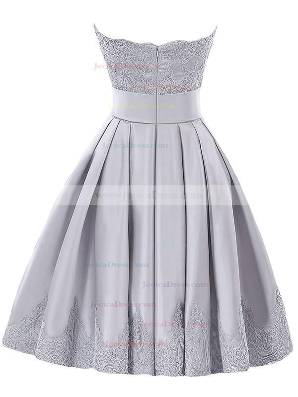 Original Strapless A-line Satin with Appliques Lace Knee-length Bridesmaid Dresses #JCD01012957
