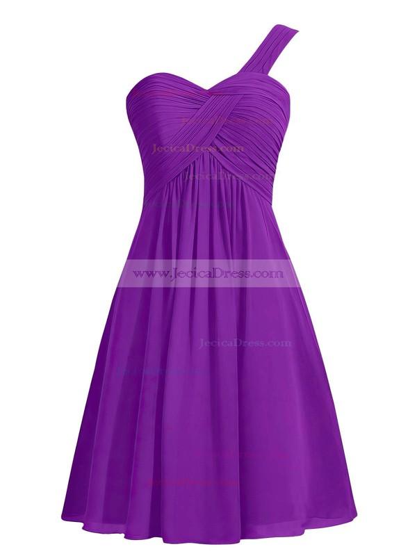 Custom Empire Blue Chiffon with Ruffles Knee-length One Shoulder Bridesmaid Dresses #JCD01012959