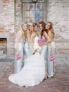 Exclusive Sheath/Column V-neck Sequined Floor-length Split Front Silver Bridesmaid Dresses #JCD01012961