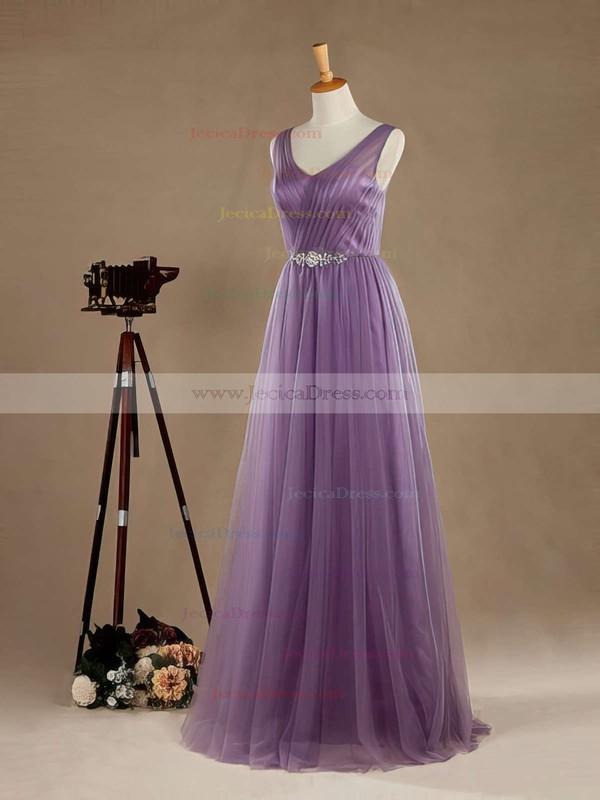 Open Back A-line V-neck Tulle Floor-length Beading Latest Bridesmaid Dresses #JCD01012965