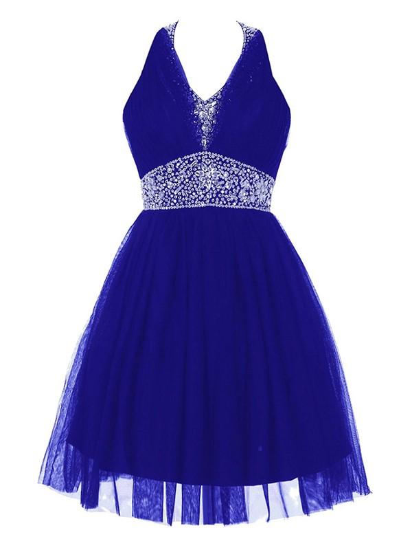 Inexpensive Backless A-line Royal Blue Tulle Beading Short/Mini Halter Prom Dresses #JCD020102623