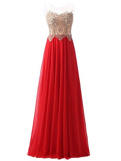 A-line Scoop Neck Chiffon Tulle Beading Floor-length Glamorous Prom Dresses #JCD020102637