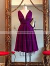 Informal Knee-length A-line V-neck Red Ruffles Chiffon Backless Prom Dresses #JCD020102648