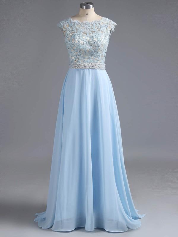 Scoop Neck Cap Straps Sweep Train Lace Chiffon Appliques Lace Fashion Prom Dresses #ZPJCD020100080