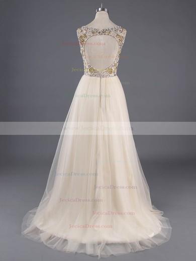 Champagne Tulle Scoop Neck Crystal Detailing Floor-length Open Back Prom Dresses #ZPJCD020100138
