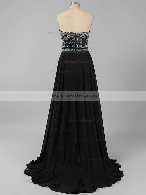 Elegant Strapless Chiffon Crystal Detailing Floor-length Black Prom Dresses #ZPJCD020100631