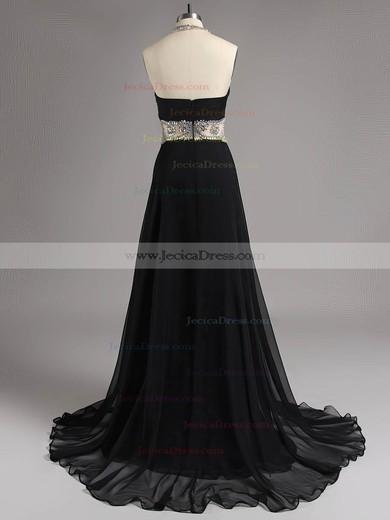 Sparkly Halter Chiffon Crystal Detailing Floor-length Black Backless Prom Dresses #ZPJCD020100646