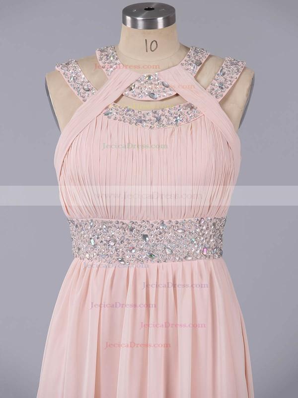 Elegant Scoop Neck Chiffon Beading Floor-length Champagne Prom Dress #ZPJCD020101074