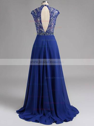 High Neck Royal Blue Chiffon Crystal Detailing Floor-length Amazing Prom Dresses #ZPJCD020101150