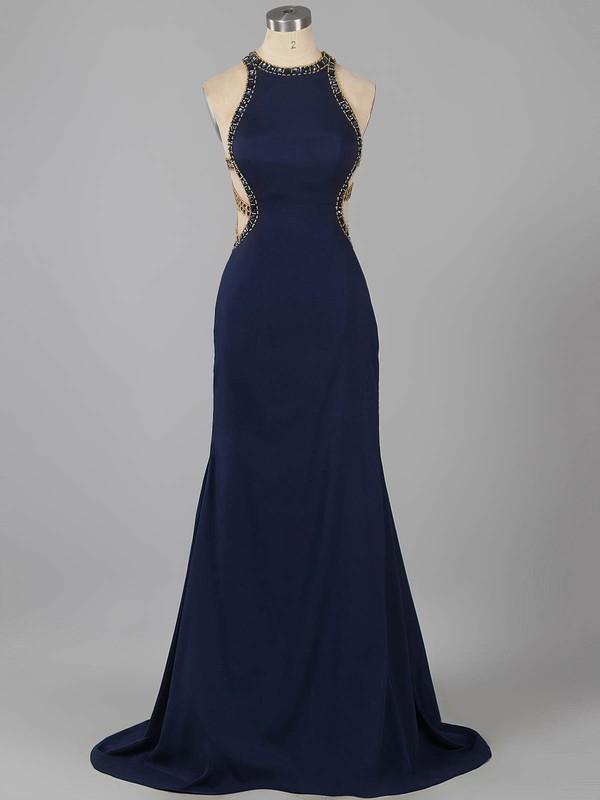 Sexy Scoop Neck Silk-like Satin with Beading Sweep Train Dark Navy Prom Dress #ZPJCD020101155