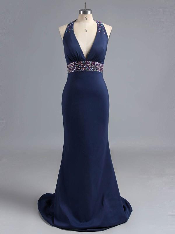 Trumpet/Mermaid Silk-like Satin Crystal Detailing V-neck Open Back Prom Dress #ZPJCD020101231
