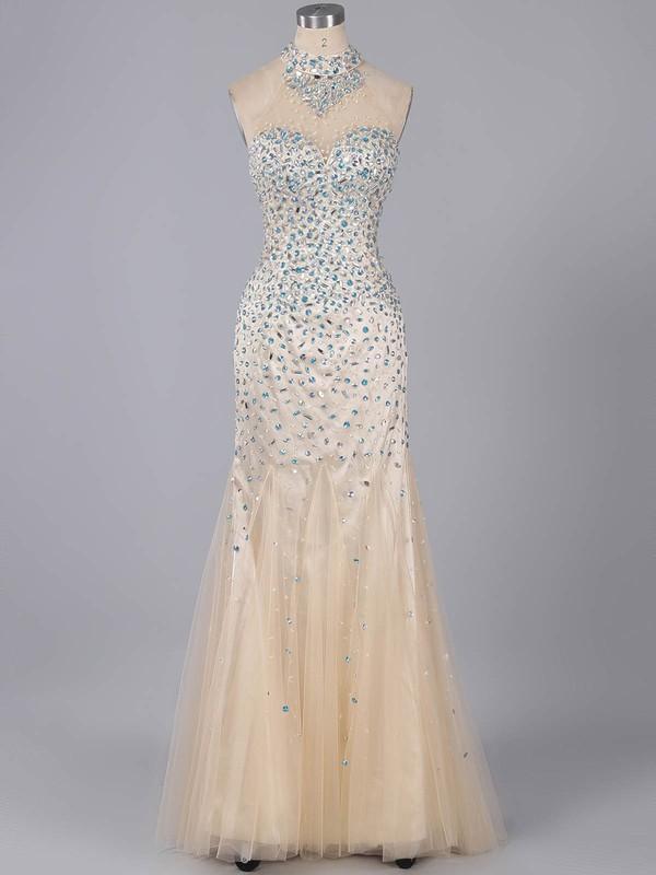 Open Back High Neck Tulle Silk-like Satin Crystal Detailing Trumpet/Mermaid Prom Dresses #ZPJCD020101299