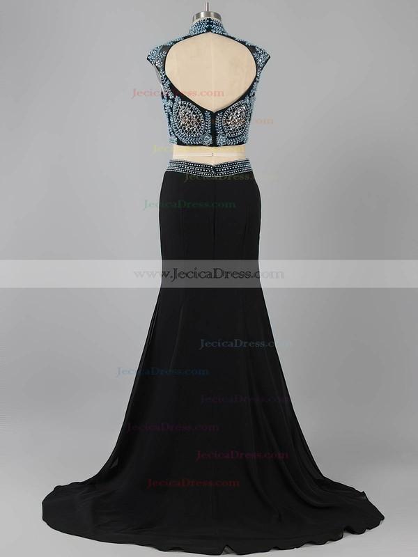 High Neck Sheath/Column Black Chiffon Beading Open Back Two Piece Prom Dress #ZPJCD020101589